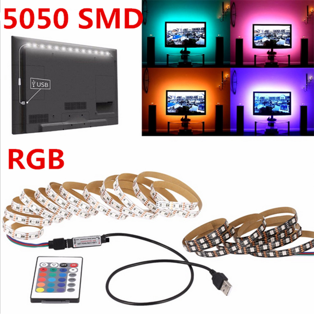 5050RGB 5V 1M LED Strip RGB Light TV Back Lighting Kit With