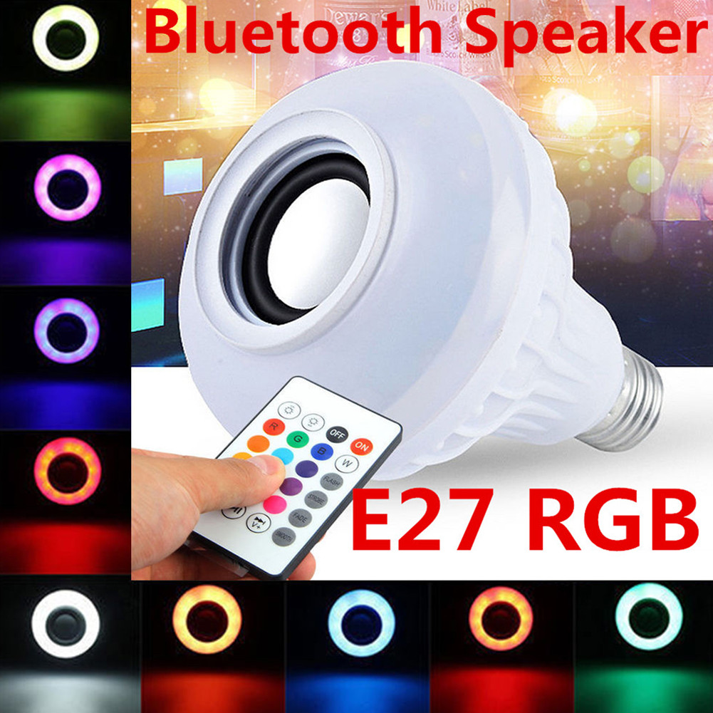 12W Wireless Bluetooth Speaker Bulb LED RGB Light Music Play