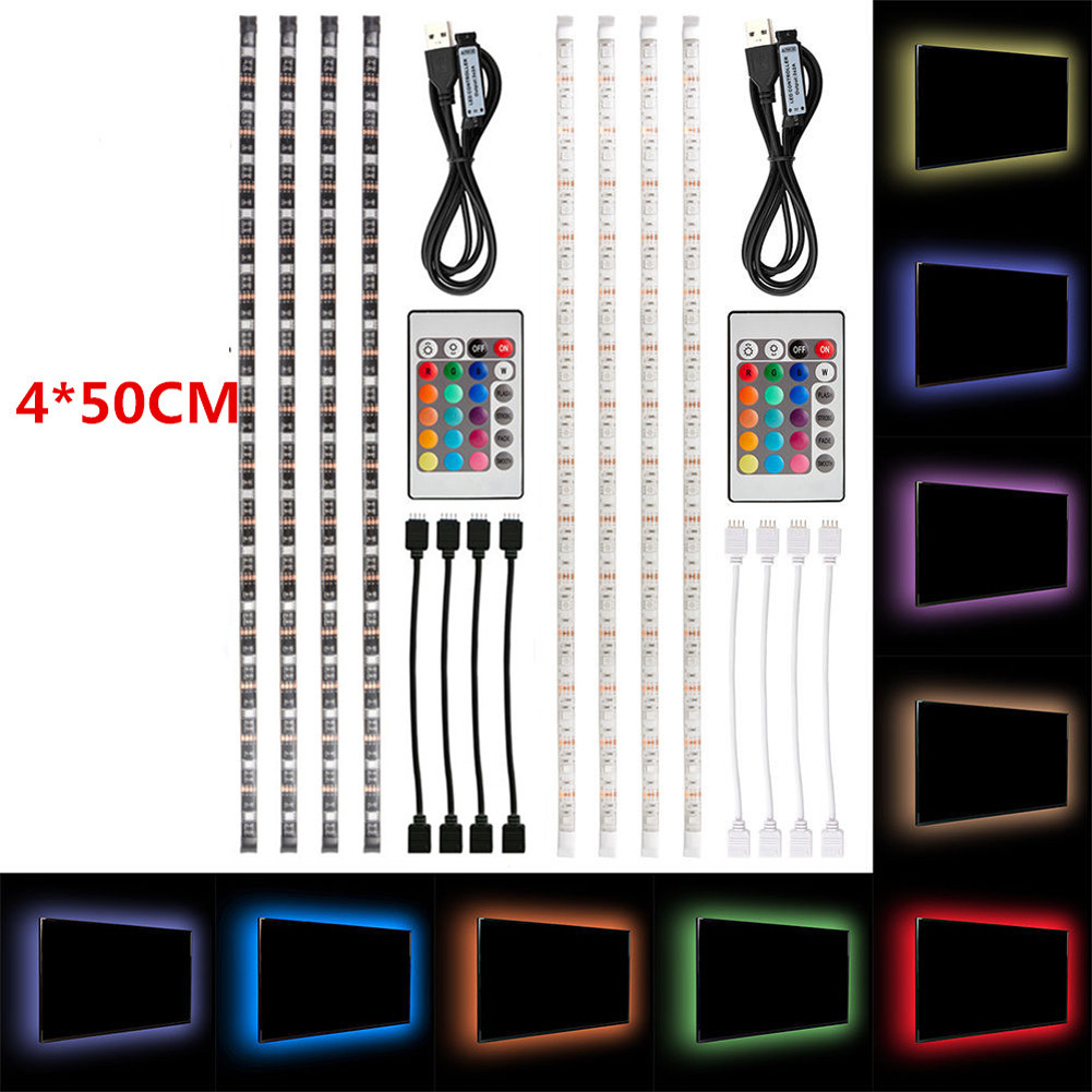 4pcs 50cm USB LED RGB Multi Color Strip Light Kit TV Backlig