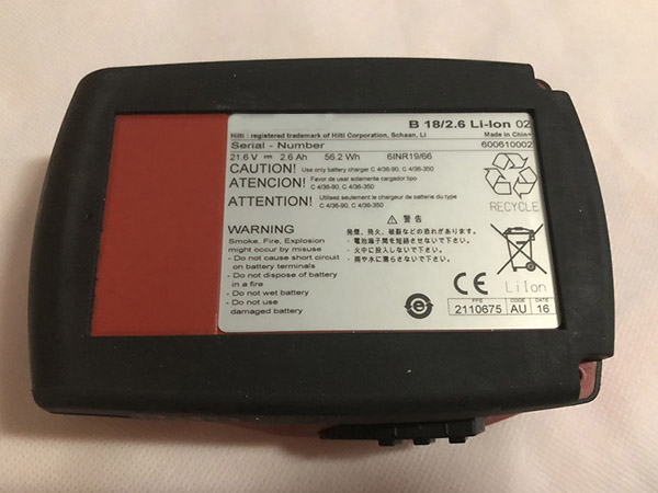 Hilti B18/2.6Ah B18/1.6Ah 21.6v Li-Ion Cordless Tool Battery